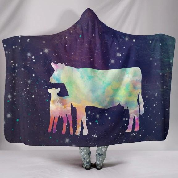 Colorful Mom and Baby Cows Hooded Blanket