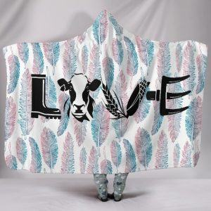 Cow Love Letter Hooded Blanket