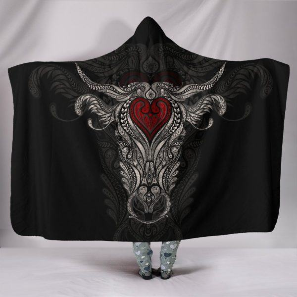 Cow Skull Art Hooded Blanket