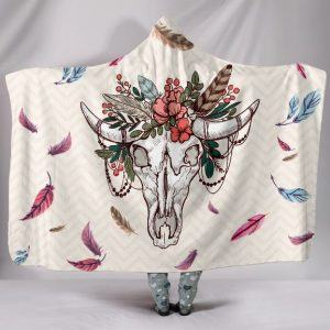 Cow Skull Native Hooded Blanket