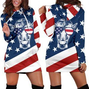 Cow Wear American Flag Glass Hoodie Dress