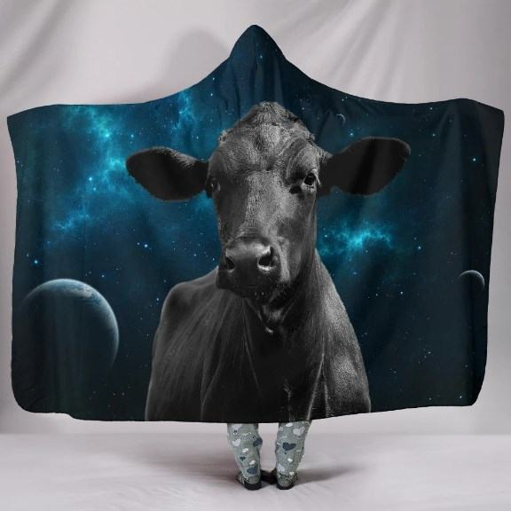 Cow in Galaxy Hooded Blanket