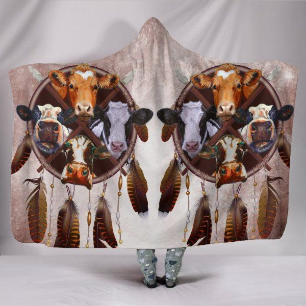 Cows Dreamcatcher Style Hooded Blanket