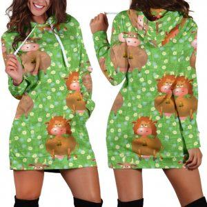 Cows Grazing Green Grass Hoodie Dress