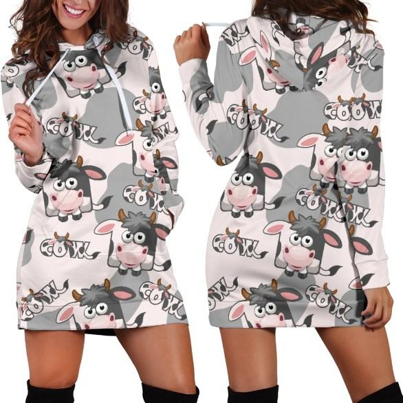 Cute Cow Face Puzzle Hoodie Dress