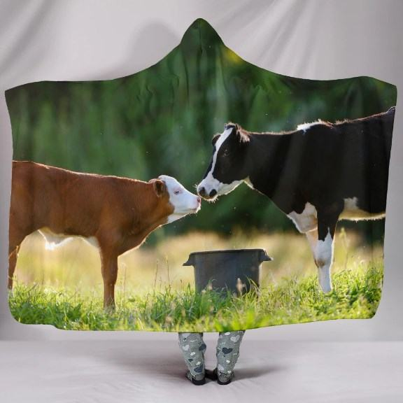 Cute Two Cows Kissing Hooded Blanket