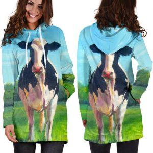 Dairy Cow in the Field 3D Hoodie Dress