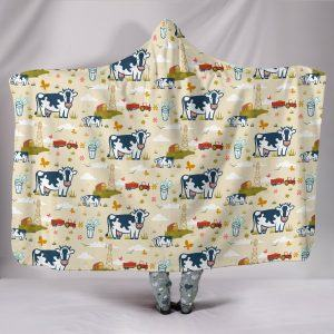 Farm Life with Dairy Cow, Tractor and Pasture Hooded Blanket