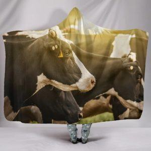 Herd of Cow in Sunset Hooded Blanket