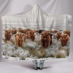 Herd of Highland Cattle Hooded Blanket