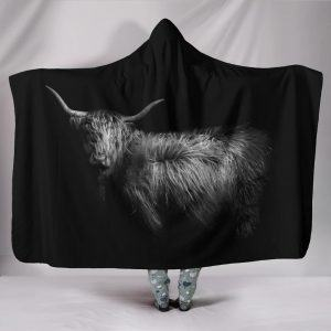 Highland Cattle Black Hooded Blanket