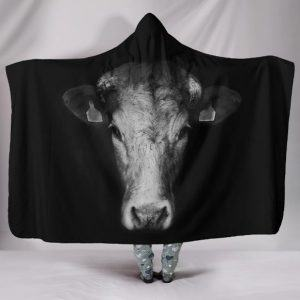 Impressive Black and White Cow Hooded Blanket