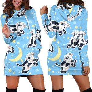 Love Dairy Cows to the Moon Hoodie Dress