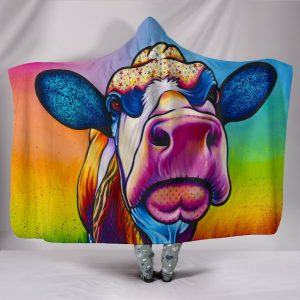 Rainbow Colorful Painting Cow Hooded Blanket