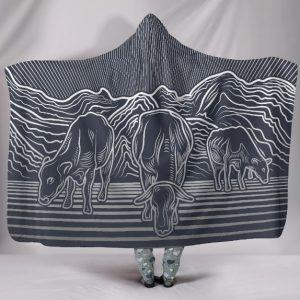 Three Cows Grazing in Moutain Hooded Blanket