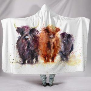 Watercolor Painting Highland Cattle Hooded Blanket