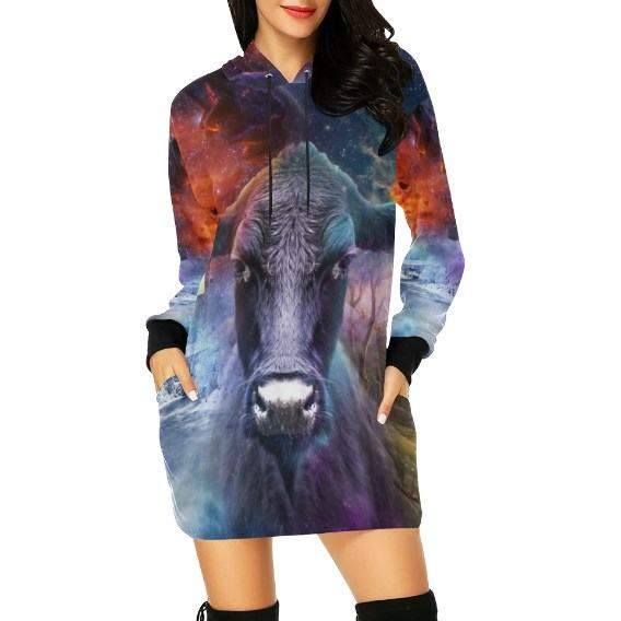 cow fantasy hoodie dress for cow lovers
