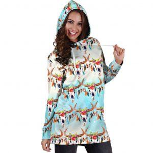 longhorn cow native american hoodie dress