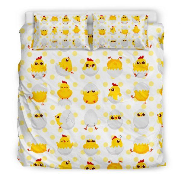 Baby Chickens and Eggs Pattern Bedding Set King