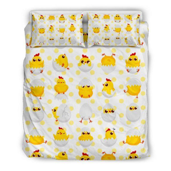 Baby Chickens and Eggs Pattern Bedding Set Queen