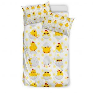 Baby Chickens and Eggs Pattern Bedding Set Twin