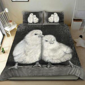 Black and White Pair of Chicks Bedding Set