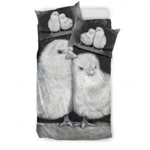 Black and White Pair of Chicks Bedding Set Twin