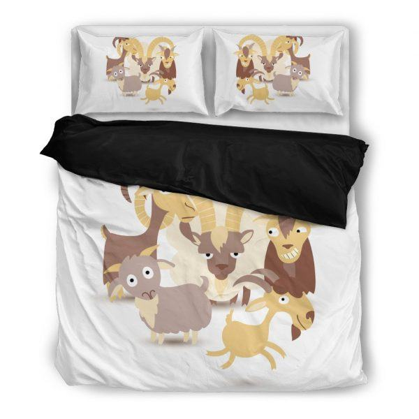 Cartoon We Are Goat Bedding Set Black
