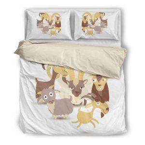 Cartoon We Are Goat Bedding Set White