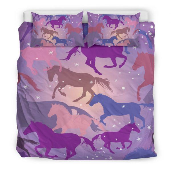 Colorful Horse Silhouette Bedding Set King