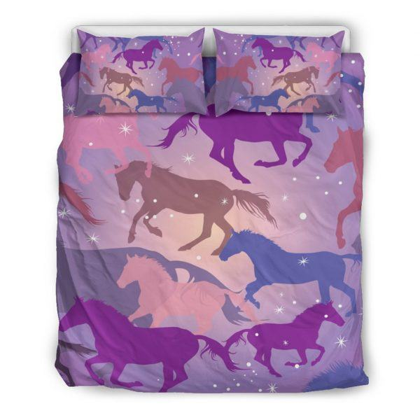 Colorful Horse Silhouette Bedding Set Queen