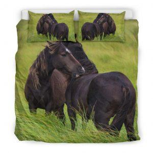 Couple of Horses on the Pasture Bedding Set King