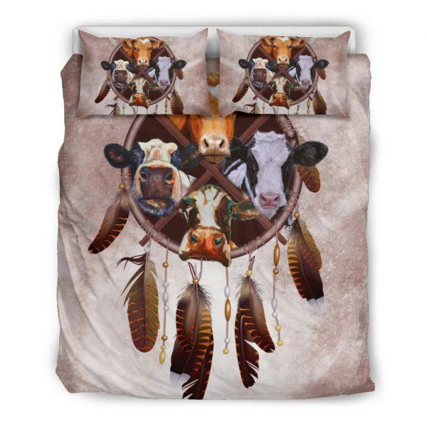 Cow and dreamcatcher bedding set full