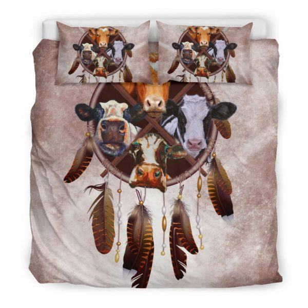 Cow and dreamcatcher bedding set king
