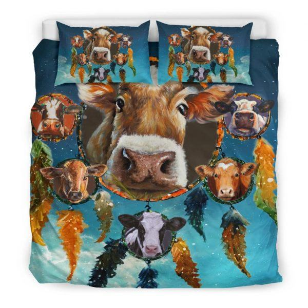 Cows and Dreamcatcher in Snow bedding set king