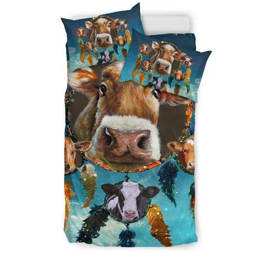 Cows and Dreamcatcher in Snow bedding set twin