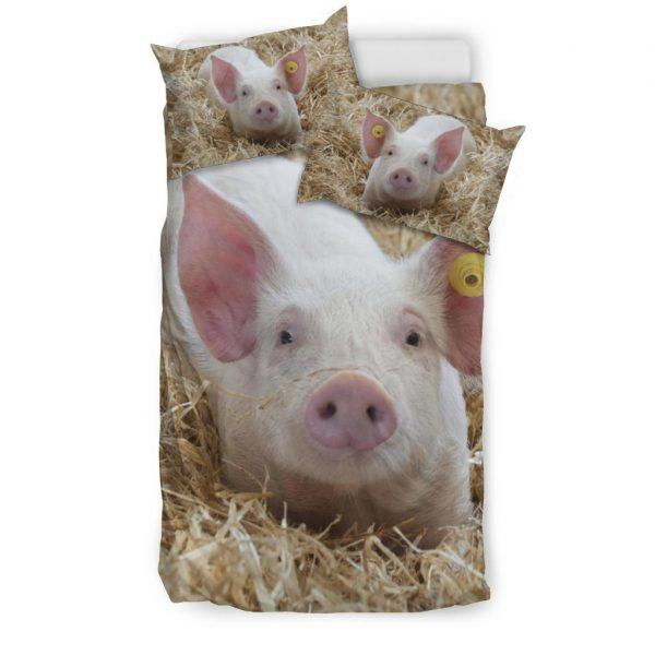 Cute Baby Pig in Grass Bedding Set Twin
