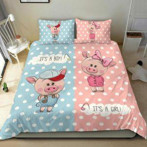 Cute Boy and Girl Pigs Bedding Set