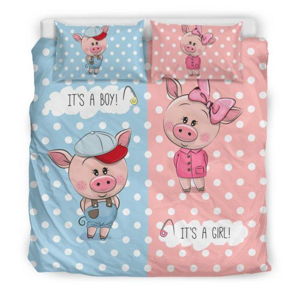 Cute Boy and Girl Pigs Bedding Set king