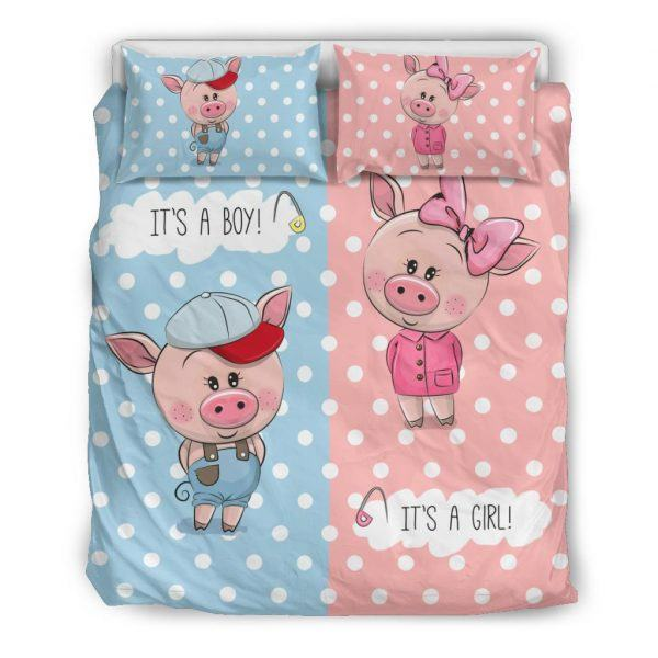 Cute Boy and Girl Pigs Bedding Set queen