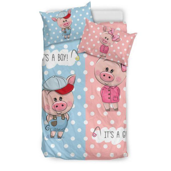 Cute Boy and Girl Pigs Bedding Set twin