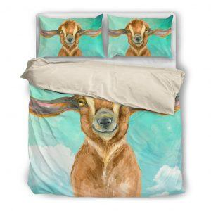 Cute Drawing Baby Goat Bedding Set White