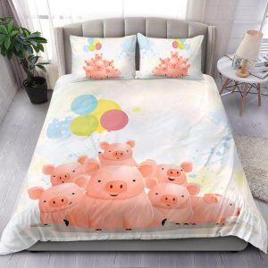Cute Pig Family with Balloons Bedding set