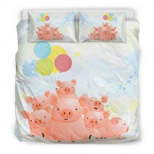 Cute Pig Family with Balloons Bedding set king