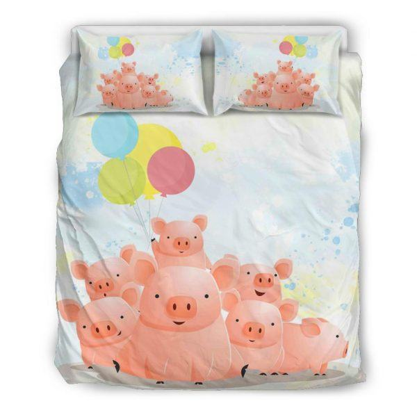Cute Pig Family with Balloons Bedding set queen