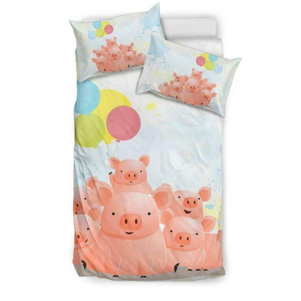 Cute Pig Family with Balloons Bedding set twin