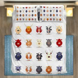 Different breeds of cattle face bedding set