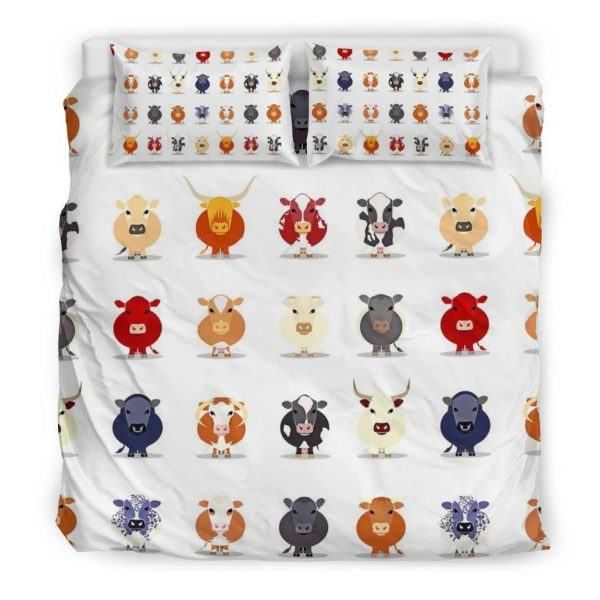 Different breeds of cattle face bedding set king