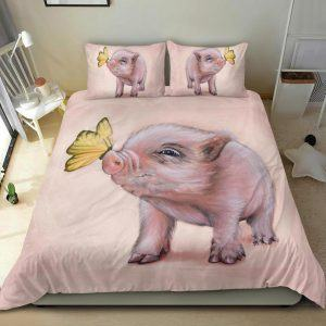Drawing Cute Baby Pig with Butterfly Bedding Set