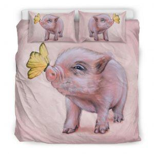 Drawing Cute Baby Pig with Butterfly Bedding Set King